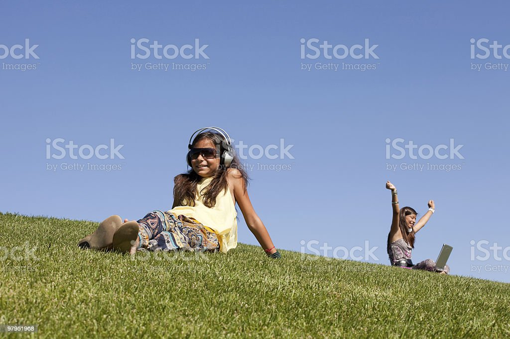 teenagers relaxing in the park royalty-free stock photo