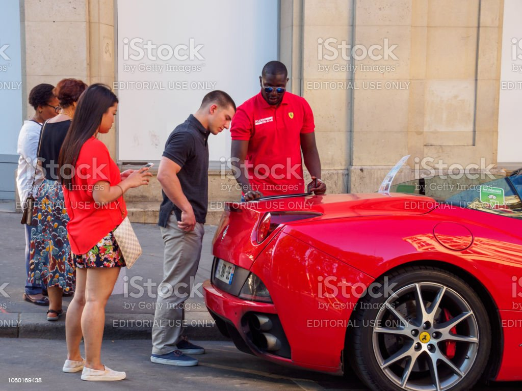 Teenagers Rent Ferrari Luxury Sports Car Paris France Stock Photo
