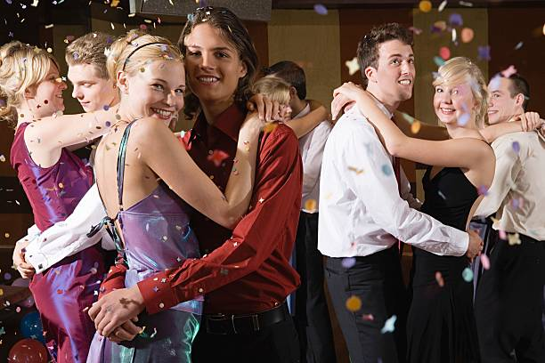 teenagers slow dancing - prom stock photos and pictures
