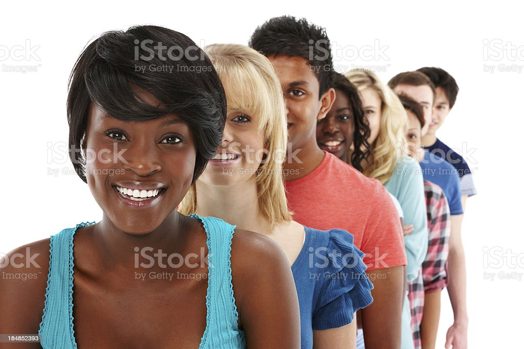 Teenagers Standing in a Line royalty-free stock photo