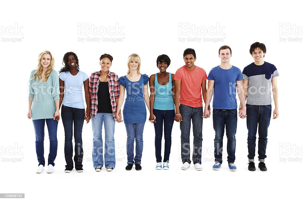 Teenagers Standing in a Row - Isolated stock photo