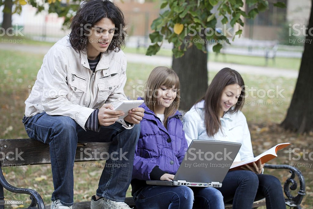 Teenagers studying in the park. royalty-free stock photo