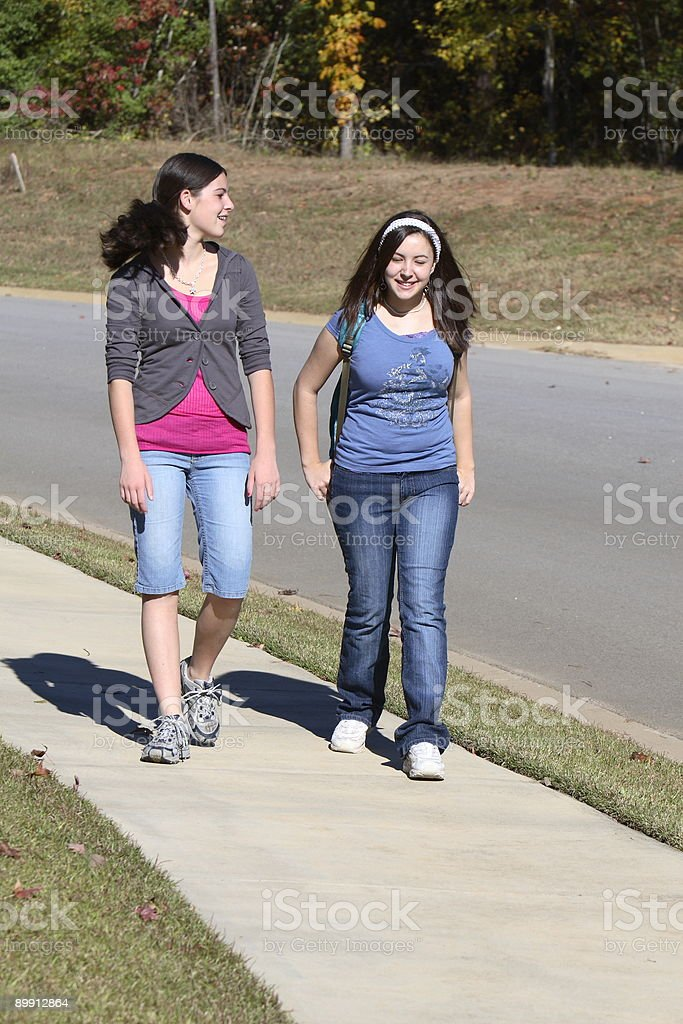 Teenagers Walking royalty-free stock photo