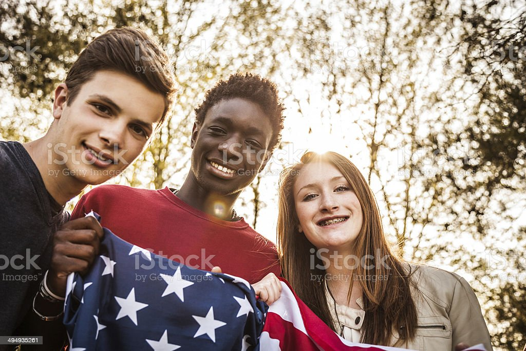 Teenagers with USA flag royalty-free stock photo