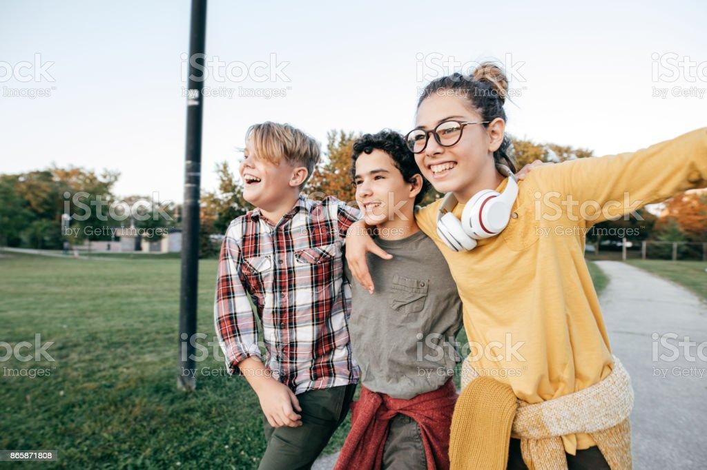 Teens having fun stock photo