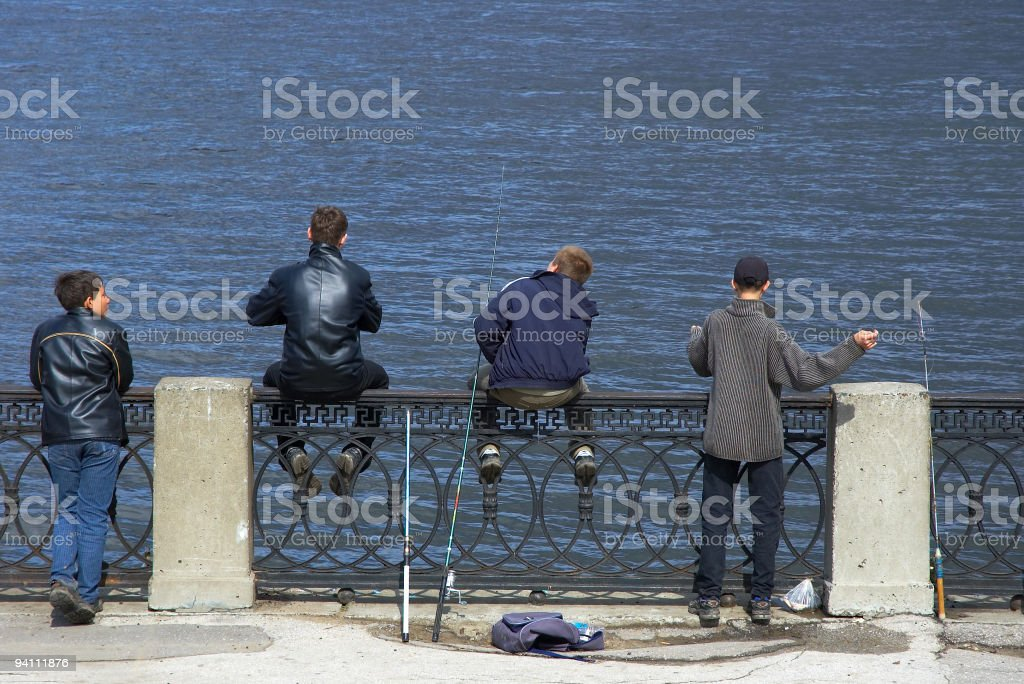 teens on the fishing royalty-free stock photo
