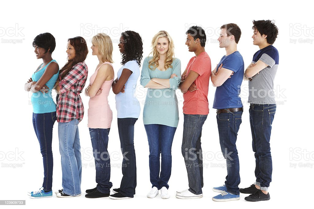 Teens Standing in Profile - Isolated royalty-free stock photo