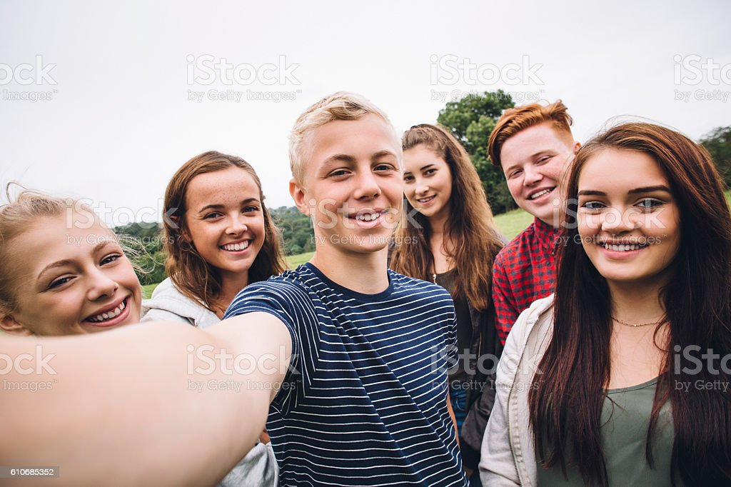 Teens Taking a Selfie stock photo