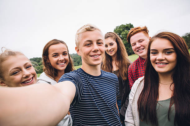 Teens Taking a Selfie stock photo
