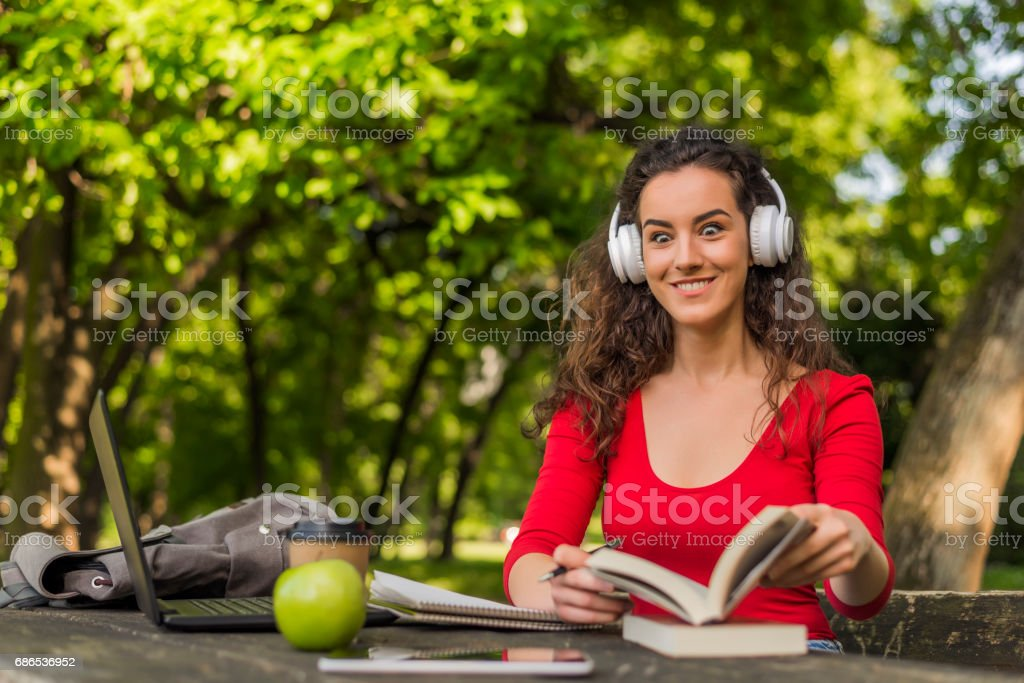 Teens Using Social Media, Being in nature inspires creativity stock photo