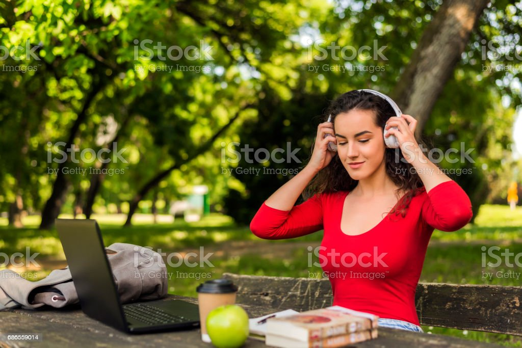 Teens Using Social Media, Chilling by myself royalty-free stock photo