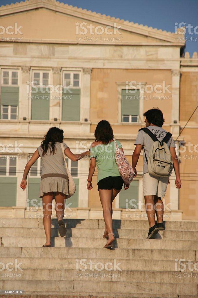 teens walking in athens royalty-free stock photo