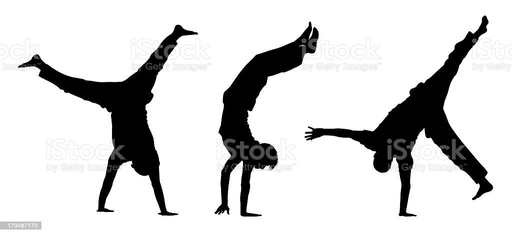 teens walking on hands silhouettes royalty-free stock photo