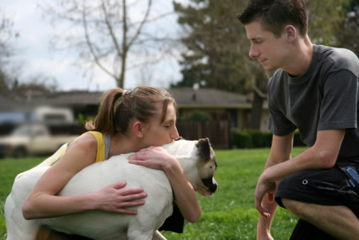 Teens With A Dog Stock Photo - Download Image Now