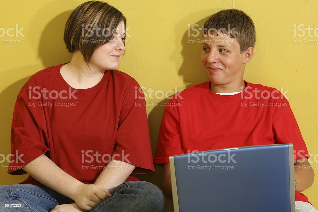 Teens with Laptop royalty-free stock photo