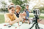 Teens working on robotics project