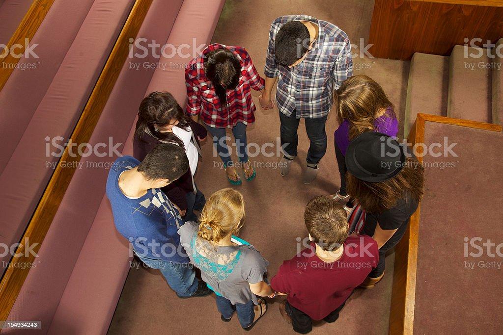 8 Teens Worship Together stock photo