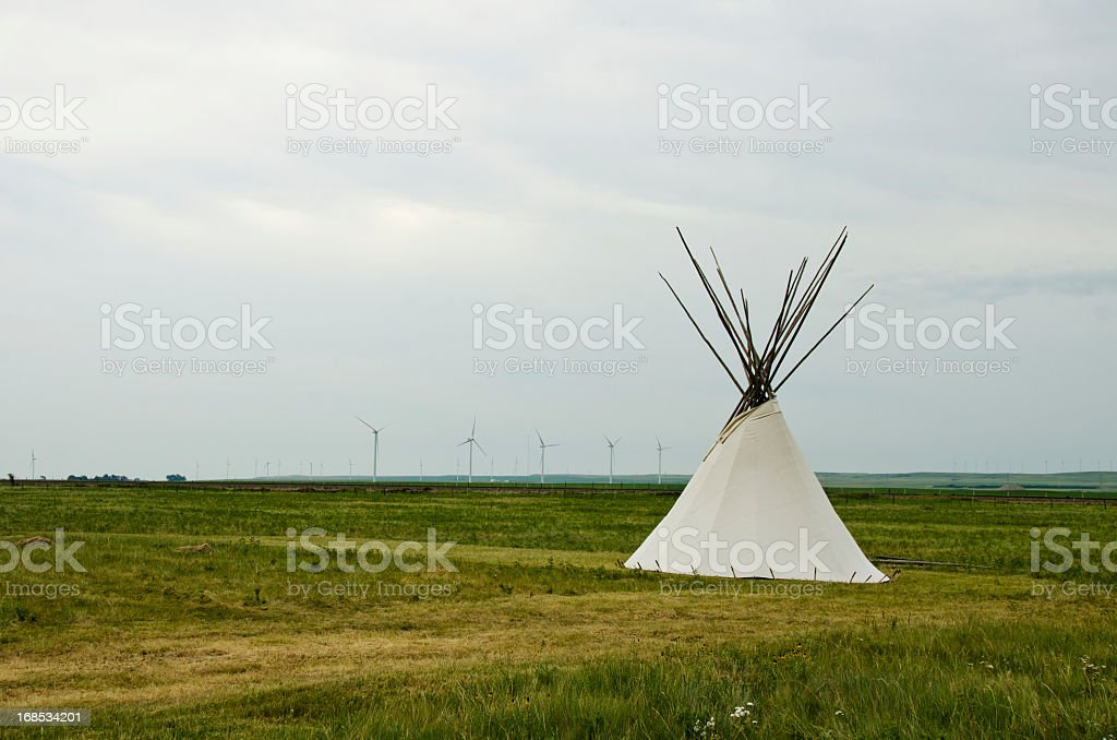 Teepee and Wind Turbines royalty-free stock photo