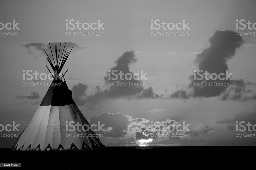 Teepee at Sunset Black and White stock photo