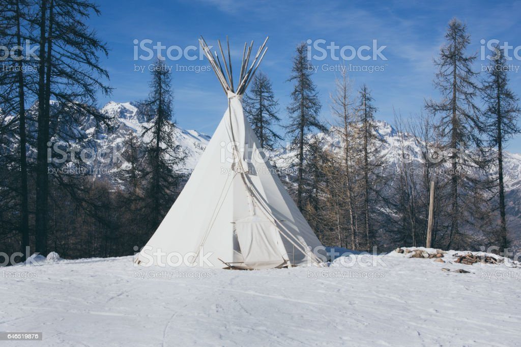 Teepee in forest stock photo
