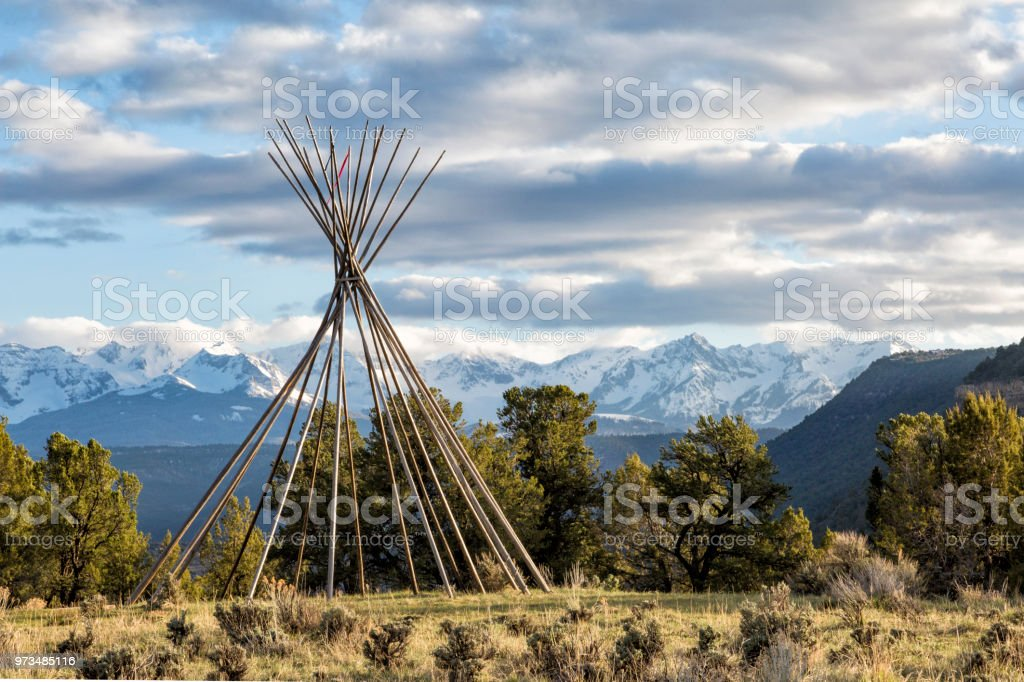 Teepee In The Mountains stock photo