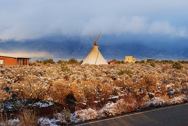 Teepee in the Snow, New Mexico stock photo