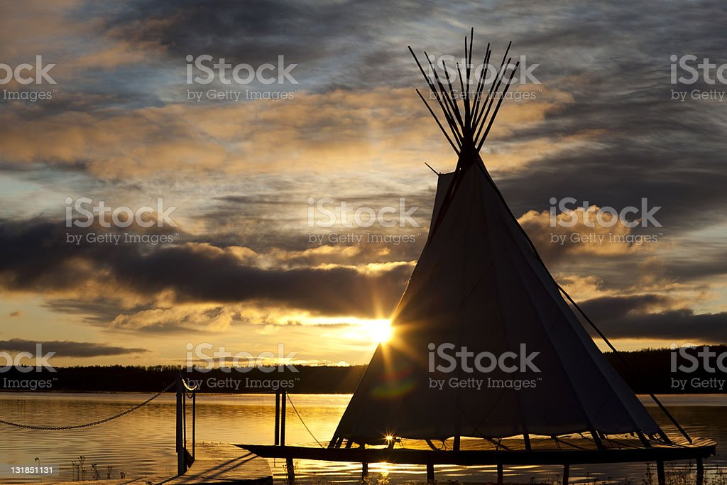 teepee on a sunset royalty-free stock photo