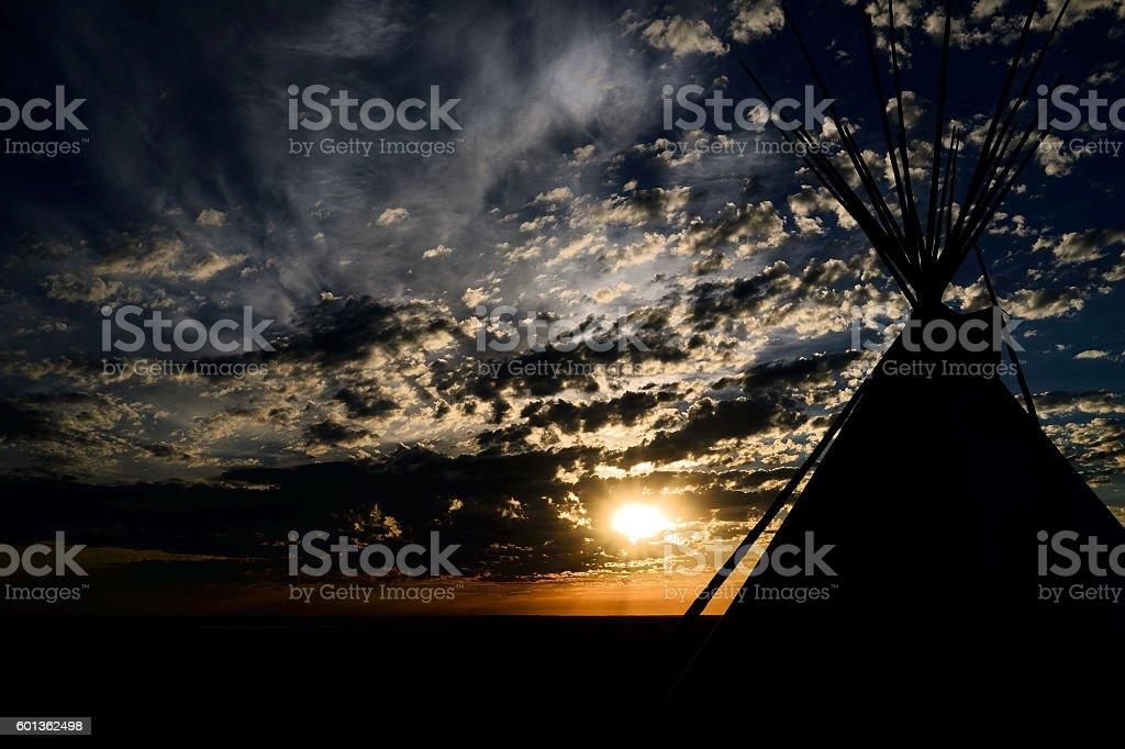 Teepee Sunrise stock photo