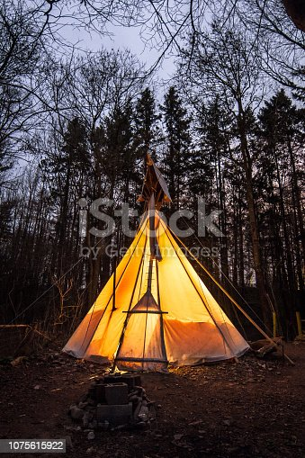 Teepee tent at night