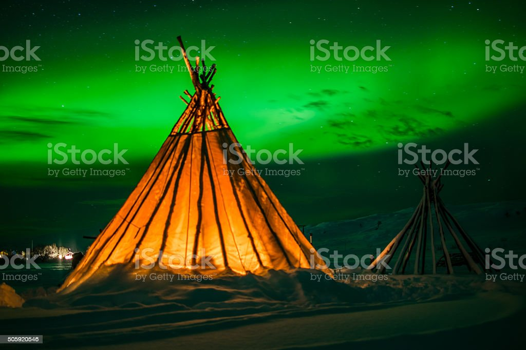 Teepee under the Northern Lights stock photo