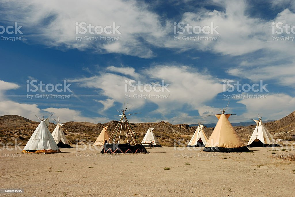 Teepee village royalty-free stock photo