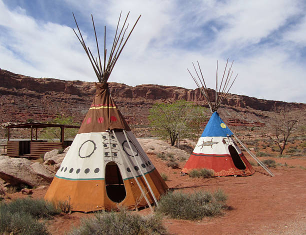 indianerzelt village - indianer tipi stock-fotos und bilder