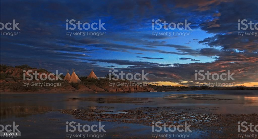 Teepees in West Texas stock photo