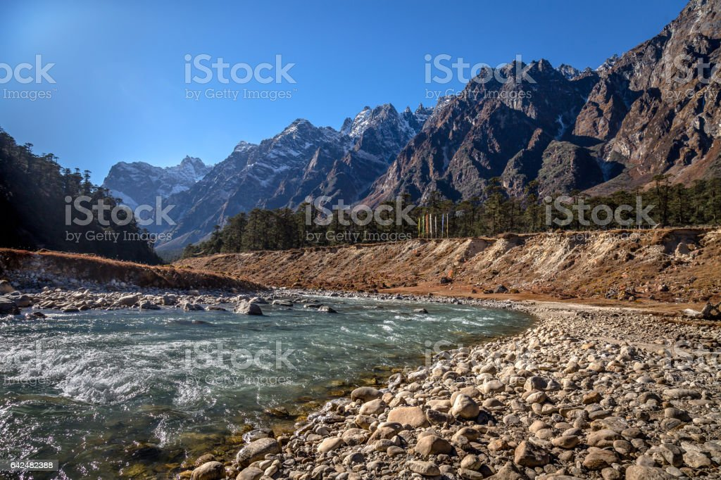 Teesta river flowing through the Yumthang valley in Sikkim, India. stock photo