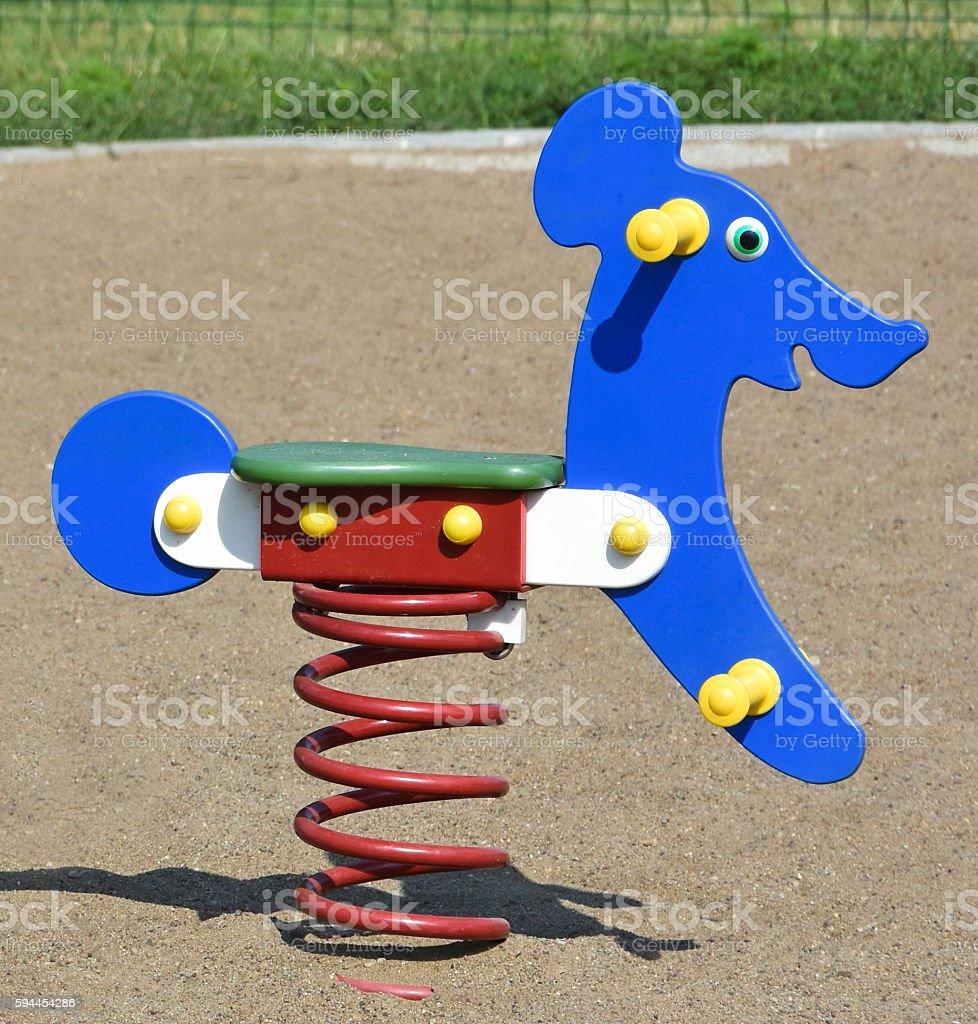 Teeter on the playground stock photo