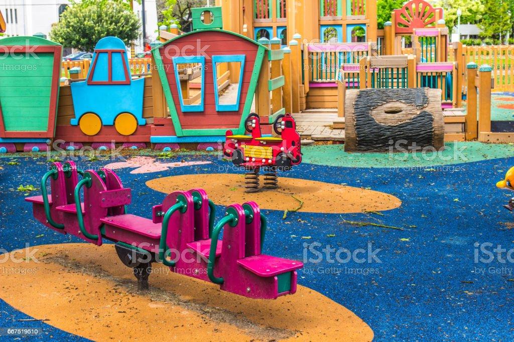 Teeter Totter At Children's Playground stock photo