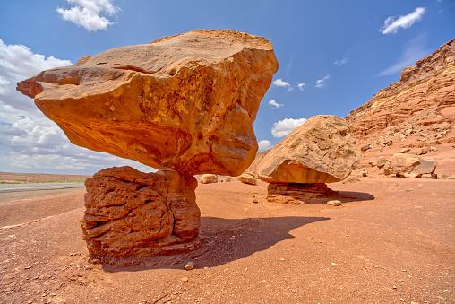 Teetering Boulder near House Rock Vermilion Cliffs AZ in Marble Canyon, Arizona, United States