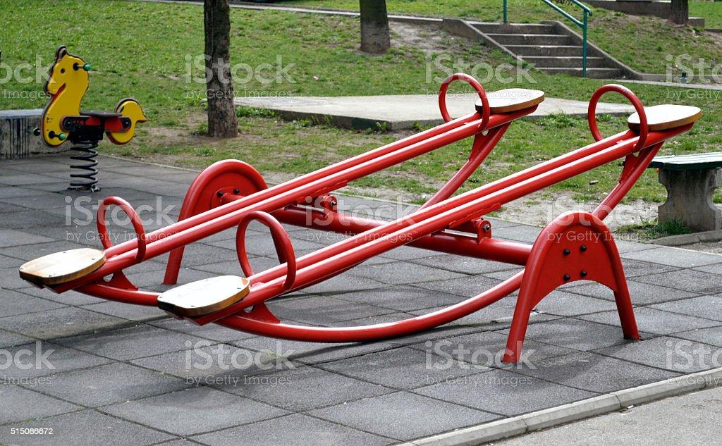 Teeters on the playground stock photo