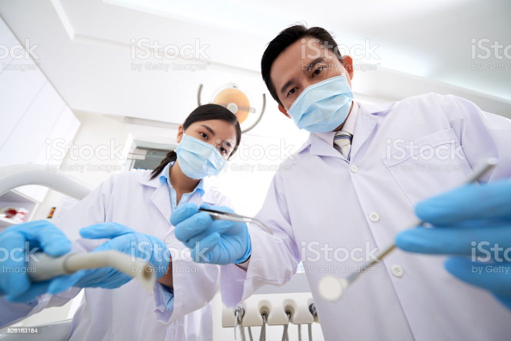 Teeth examination stock photo