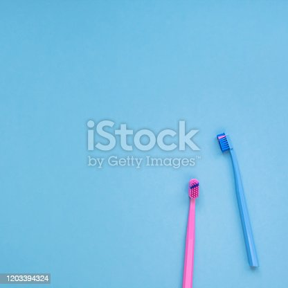 istock Teeth hygiene and oral care products flatlay 1203394324