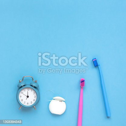 istock Teeth hygiene and oral care products flatlay 1203394343