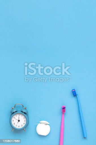 istock Teeth hygiene and oral care products flatlay 1208017880