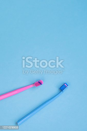 istock Teeth hygiene and oral care products flatlay 1221029303