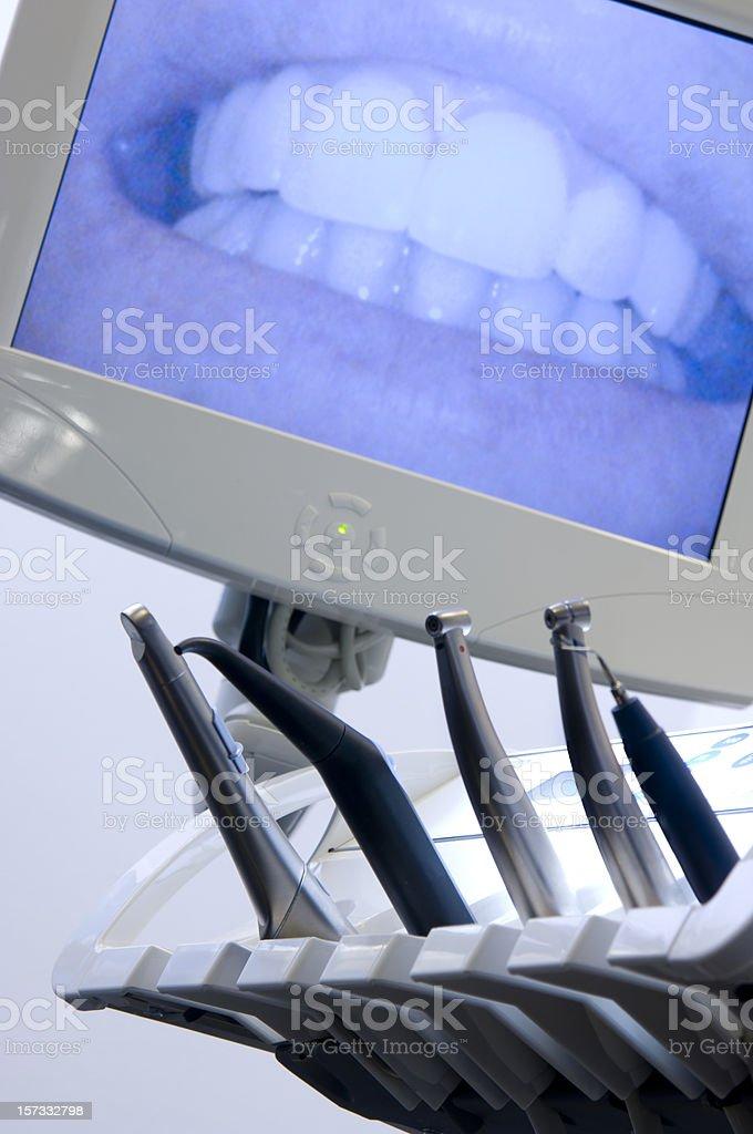 teeth on monitor at dentist royalty-free stock photo
