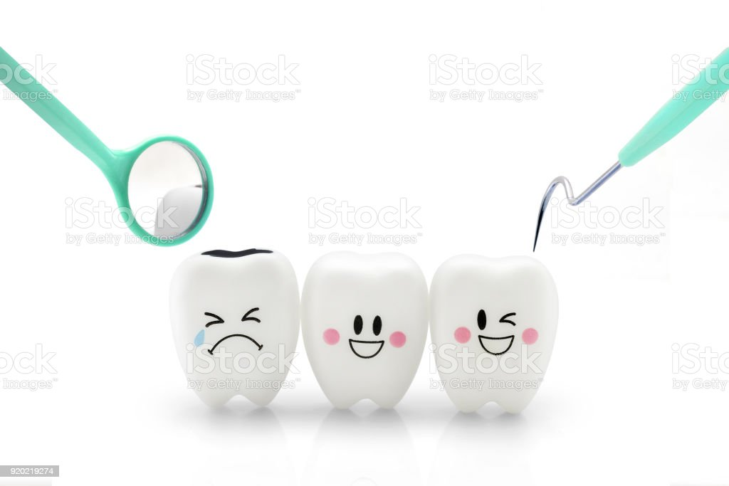 Teeth smile and crying emotion with dental mirror stock photo