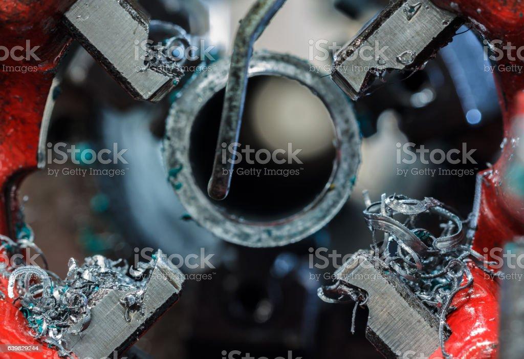 Teeth Threading Machine Pipe stock photo