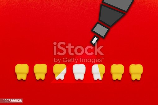 istock Teeth whitening, enamel. Cleanliness and hygiene of oral cavity for children. Cartoon anatomy on red background 1227366938
