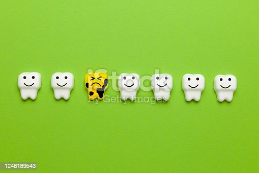 istock Teeth whitening, enamel. Cleanliness and hygiene of oral cavity for children. Cartoon anatomy on green background 1248189543