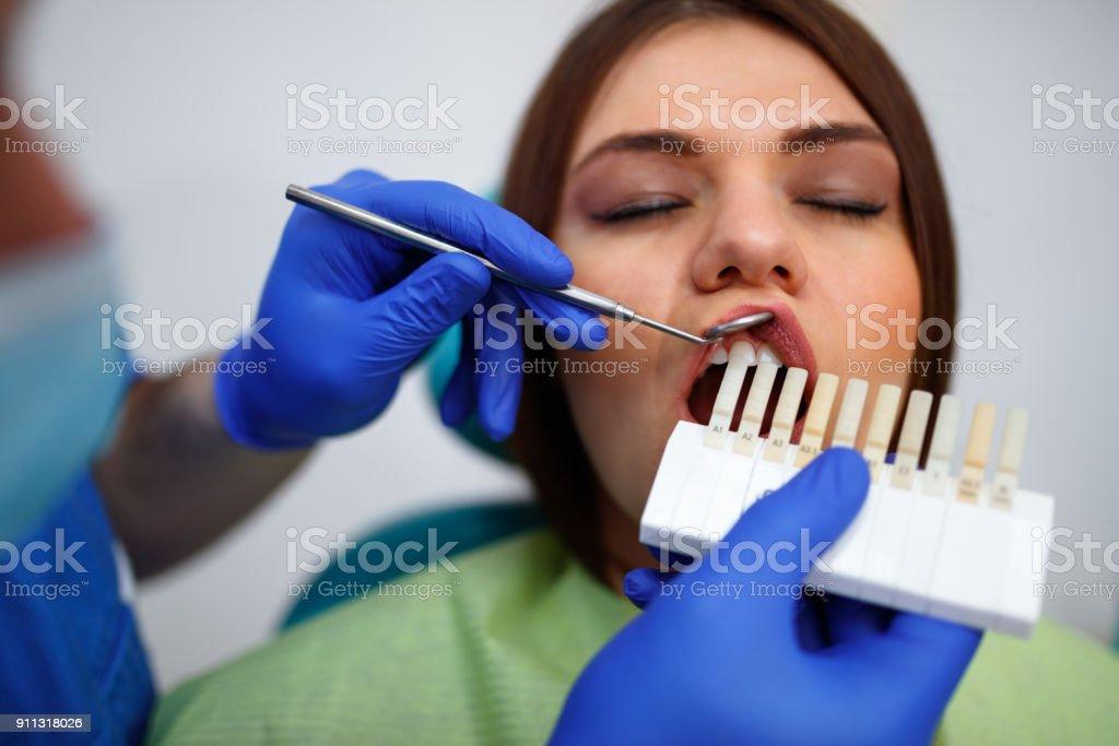 Teeth whitening treatment stock photo