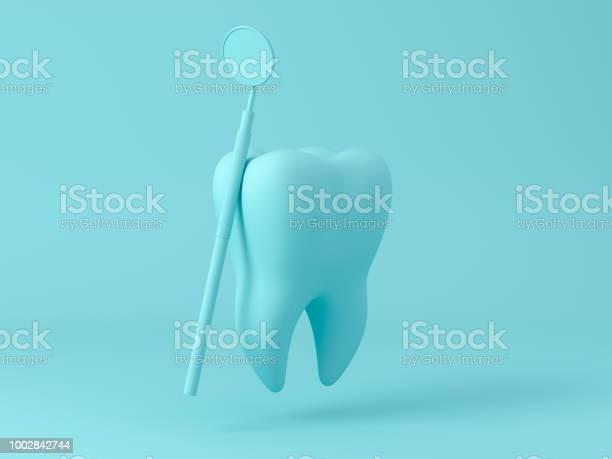 Zähne Mit Zahnbelagtool Konzept Dental Care Reinigung Bakteriellen Plaque Auf Pastell Hintergrund Minimale Wohnung Lag Konzept 3d Render Stockfoto und mehr Bilder von Bakterie